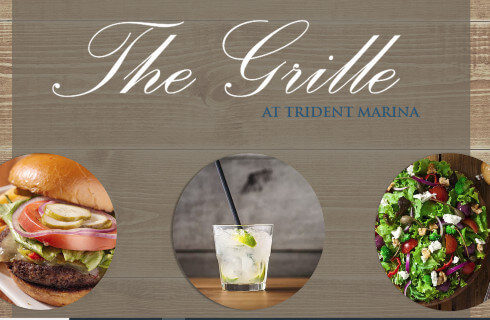 Rack card for The Grille, a restaurant, with images of food and drinks.