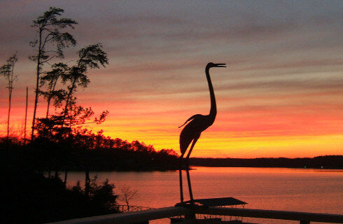 Shadow of crane in foreground of the sunset over the lake.