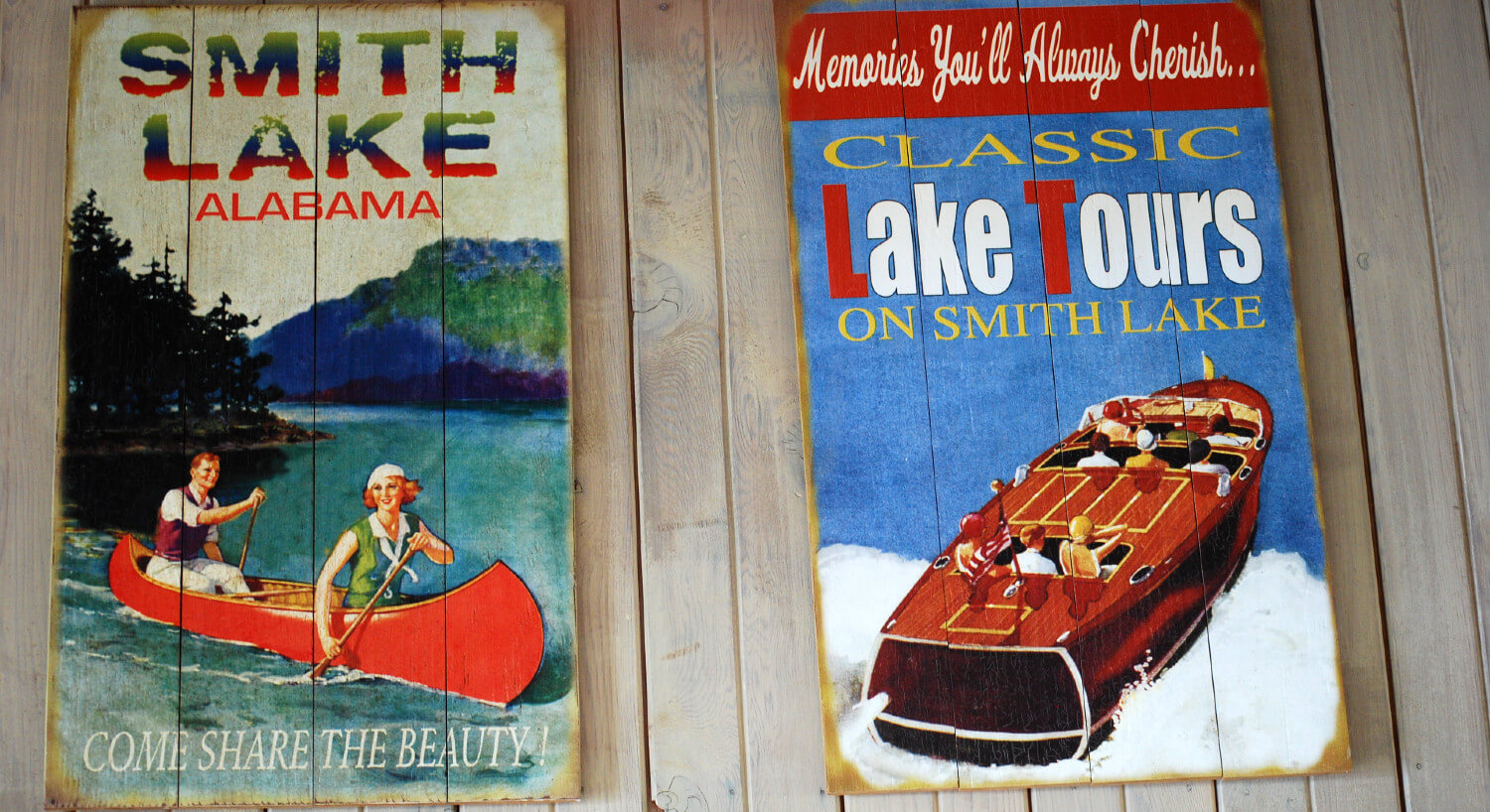 Two vintage wooden posters featuring Smith Lake