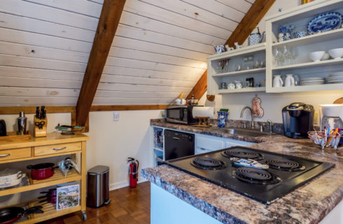 Kitchen area in room with pitched roof includes shelves, stove and dishwasher.